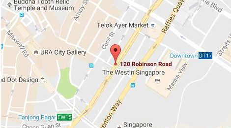 Image shows a map of Workplace Revolution Pte. Ltd.'s Singapore Main Office locations
