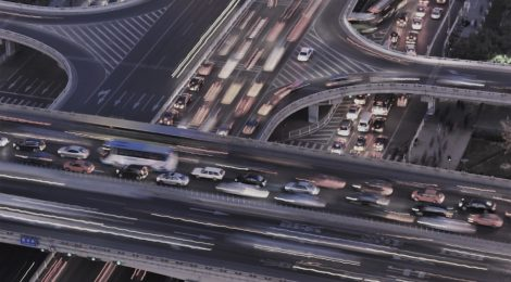 Photo of busy freeway flyovers at night in Beijing, China