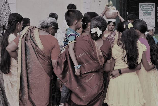 Photo of Hindu ritual on the street in Mysore, India