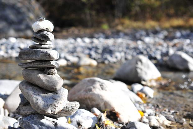 Photo of river-stone sculpture near Adelboden, Switzerland