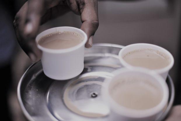 Photo of chai on a tray at Mysore market, India